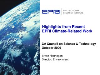 Highlights from Recent EPRI Climate-Related Work