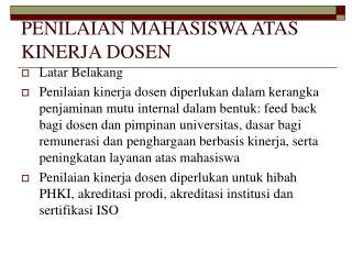 PENILAIAN MAHASISWA ATAS KINERJA DOSEN