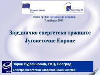 Зоран Вујасиновић , EK Ц ,  Београд Електроенергетски координациони центар