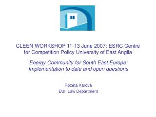 CLEEN WORKSHOP 11-13 June 2007: ESRC Centre for Competition Policy University of East Anglia