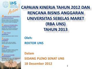 Oleh : REKTOR UNS Dalam SIDANG PLENO SENAT UNS  18  Desember  2012