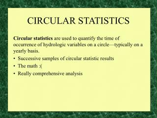 CIRCULAR STATISTICS