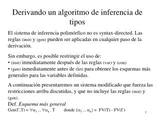 Derivando un algoritmo de inferencia de tipos