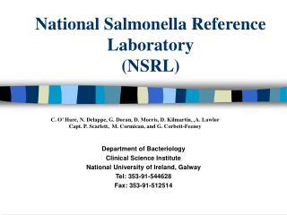 National Salmonella Reference Laboratory (NSRL)