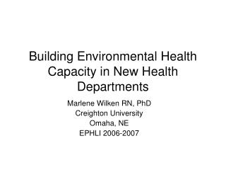 Building Environmental Health Capacity in New Health Departments