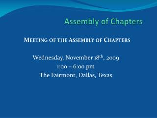 Assembly of Chapters