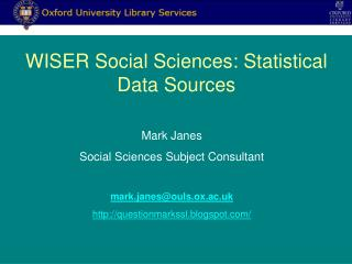 WISER Social Sciences: Statistical Data Sources