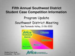 Program Update  Southwest District Meeting San Fernando Valley, 11-06-2010