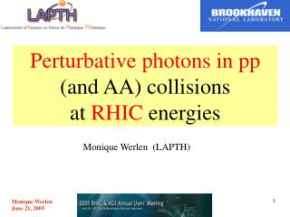 Perturbative photons in pp (and AA) collisions  at  RHIC  energies