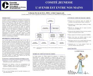 ACTIVITÉS DU COMITÉ JEUNESSE DE L'ORIIM/L