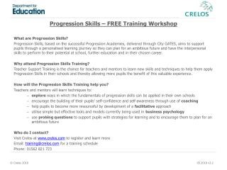 Progression Skills – FREE Training Workshop What are Progression Skills?