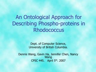 An Ontological Approach for Describing Phospho-proteins in Rhodococcus