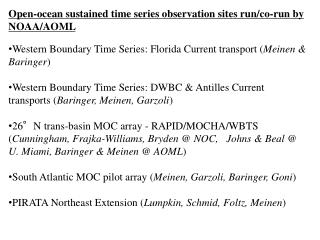 Open-ocean sustained time series observation sites run/co-run by NOAA/AOML