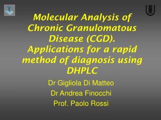 Dr Gigliola Di Matteo Dr Andrea Finocchi Prof. Paolo Rossi