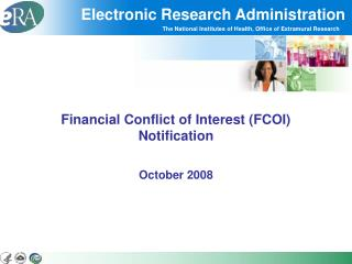 Financial Conflict of Interest FCOI Notification