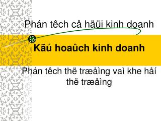 Phán têch cå häüi kinh doanh Kãú hoaûch kinh doanh Phán têch thë træåìng vaì khe håí thë træåìng