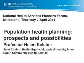 National Health Services Planners Forum, Melbourne, Thursday 7 April 2011