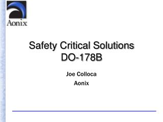 Safety Critical Solutions  DO-178B
