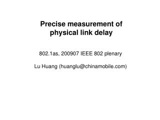 Precise measurement of  physical link delay
