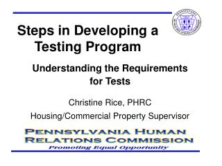 Steps in Developing a Testing Program