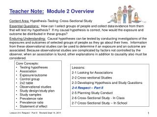 Teacher Note:   Module 2 Overview Content Area:  Hypothesis-Testing: Cross-Sectional Study