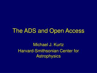 The ADS and Open Access