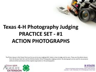 Texas 4-H Photography Judging PRACTICE SET - #1 ACTION PHOTOGRAPHS