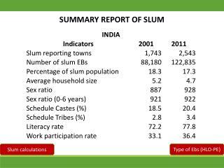 SUMMARY REPORT OF SLUM