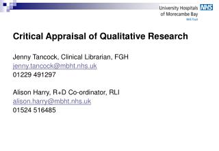 Critical Appraisal of Qualitative Research