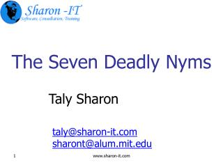 The Seven Deadly Nyms