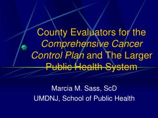County Evaluators for the  Comprehensive Cancer Control Plan  and The Larger Public Health System