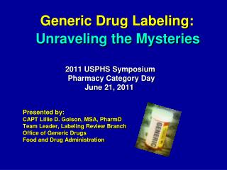 Generic Drug Labeling:
