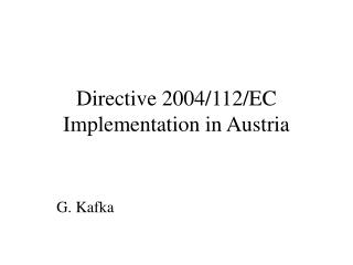 Directive 2004/112/EC Implementation in Austria