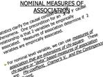 NOMINAL MEASURES OF ASSOCIATION