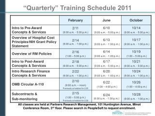 """Quarterly"" Training Schedule 2011"