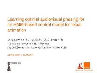 Learning optimal audiovisual phasing for an HMM-based control model for facial animation