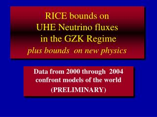 RICE bounds on  UHE Neutrino fluxes  in the GZK Regime plus bounds  on new physics
