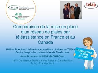 Comparaison de la mise en place d ' un réseau de plaies par téléassistance en France et au Canada