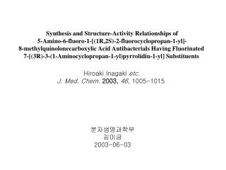 Synthesis and Structure-Activity Relationships of