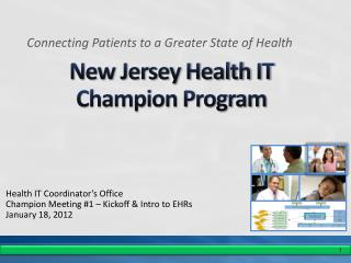New Jersey Health IT  Champion Program