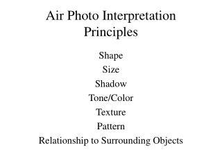 Air Photo Interpretation Principles