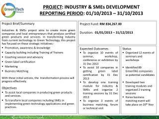 PROJECT :  INDUSTRY & SMEs DEVELOPMENT Reporting period :  01/10/2013  –  31/10/2013