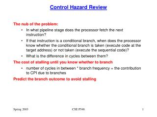 Control Hazard Review
