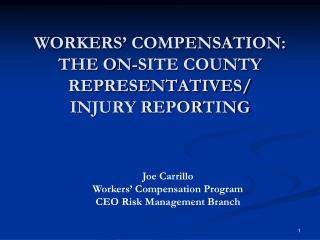 WORKERS' COMPENSATION:  THE ON-SITE COUNTY REPRESENTATIVES/ INJURY REPORTING