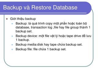 Backup và Restore Database