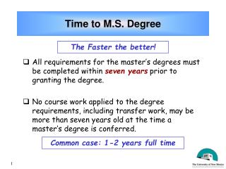 Time to M.S. Degree