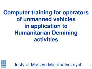 Computer  training for operators of unmanned vehicles in application to