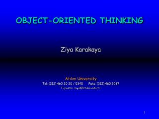 OBJECT-ORIENTED THINKING