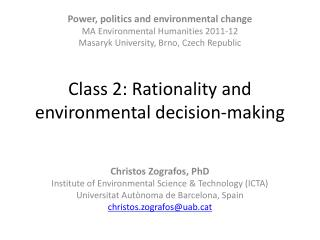 Class 2: Rationality and environmental decision-making