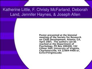 Katherine Little, F. Christy McFarland, Deborah Land, Jennifer Haynes, & Joseph Allen